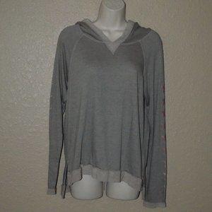 NWT $128 Sz XS Gray Gold Stars Hooded Sweatshirt
